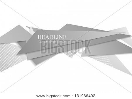 Grey tech corporate shapes abstract background. Vector geometric design