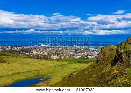 The Edinburgh Skyline With Blue Sky In The Background.