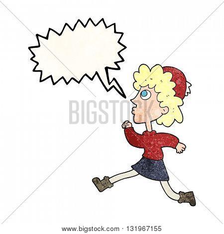freehand speech bubble textured cartoon running woman