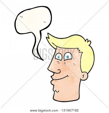 freehand speech bubble textured cartoon male face