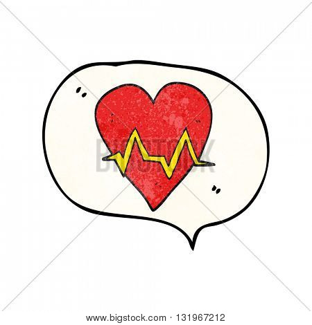 freehand speech bubble textured cartoon heart rate pulse symbol