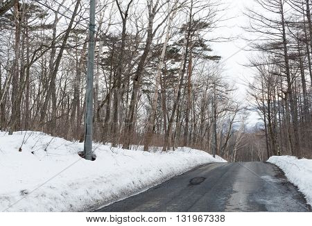 Asphalted road covered with snow