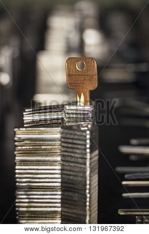 Many similar silver metal blank keys put one on another and a golden key tucked in them on a blurred dark background
