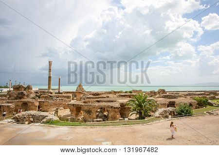Antonine Baths With Mediterranean Sea
