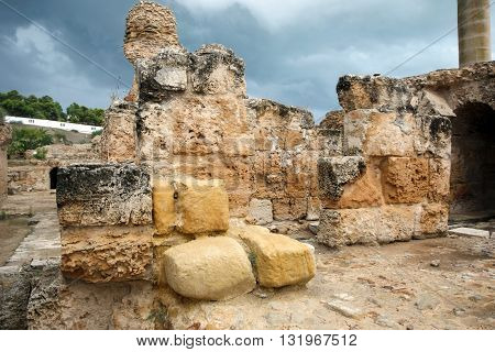 Ancient ruins of Antonine Baths at Carthage Tunisia.