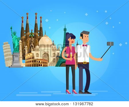 High quality, detailed most famous World landmarks. Character loving couple make selfie. Travel vector. Travel illustration. Travel landmarks. Happy travel