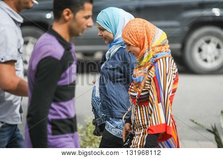 Muslim Women In Street Of Tunis