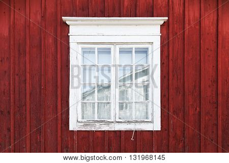 Old Red Wooden Wall With Window