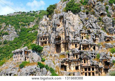 A lycian tombs in Demre (Myra) Turkey