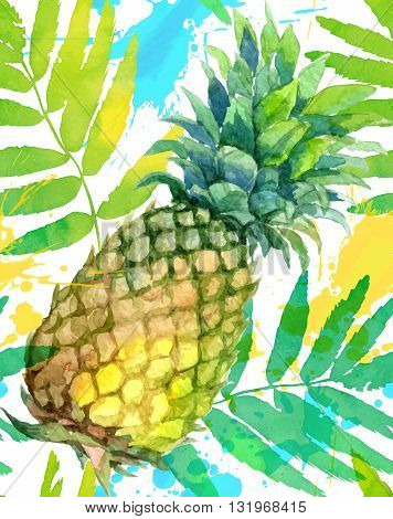 Watercolor painted green pineapples and leaves hand-drawn vectorseamless pattern