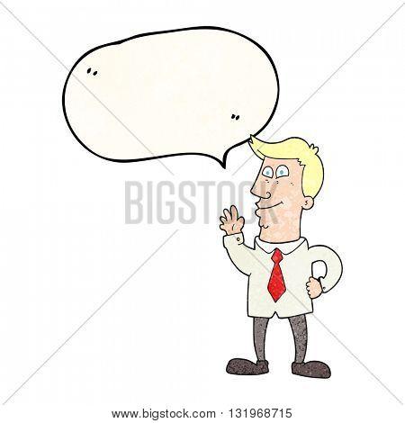 freehand speech bubble textured cartoon waving man