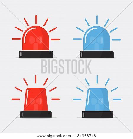 Police flasher siren vector set. Red and blue sirens flashers ambulances. Icons for alarm or emergency cases. Collection of alert flashing lights in a flat style. Red and blue flasher siren logo.