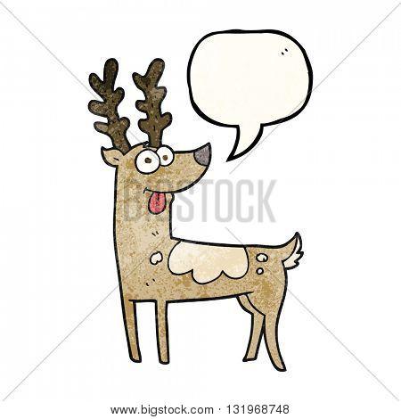 freehand speech bubble textured cartoon reindeer