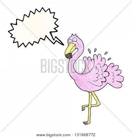 freehand speech bubble textured cartoon flamingo