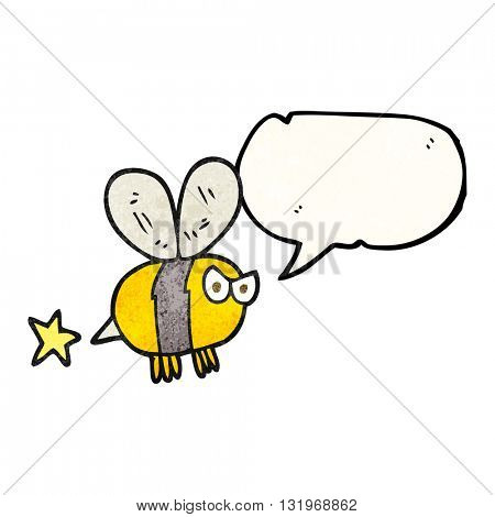 freehand speech bubble textured cartoon angry bee