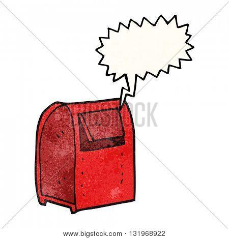freehand speech bubble textured cartoon mailbox