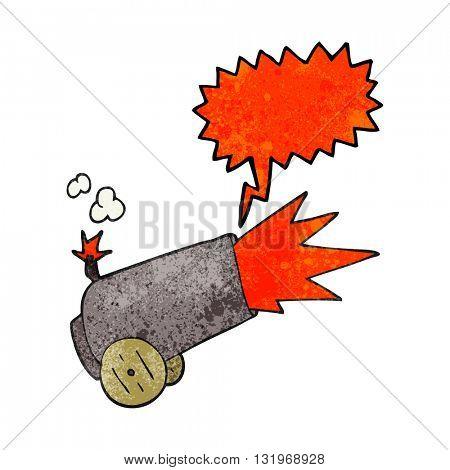 freehand speech bubble textured cartoon cannon firing