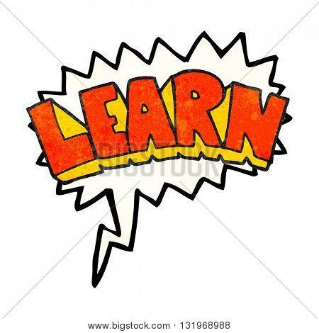 freehand speech bubble textured cartoon learn symbol