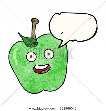 freehand speech bubble textured cartoon apple