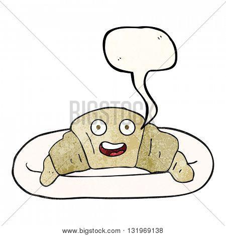 freehand speech bubble textured cartoon croissant
