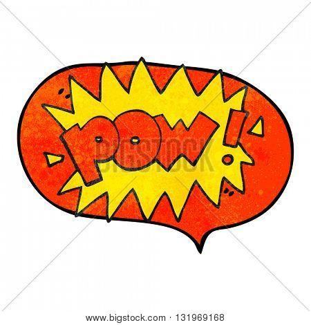 freehand speech bubble textured cartoon pow symbol