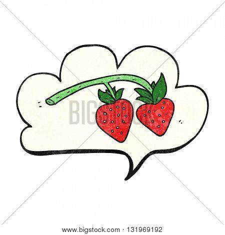 freehand speech bubble textured cartoon strawberries