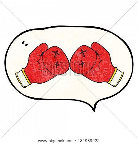 freehand speech bubble textured cartoon boxing glove