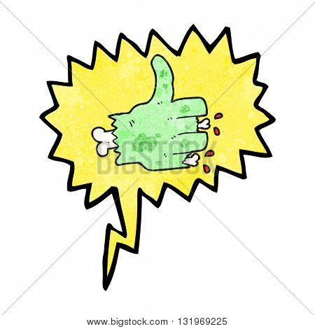 freehand speech bubble textured cartoon zombie hand