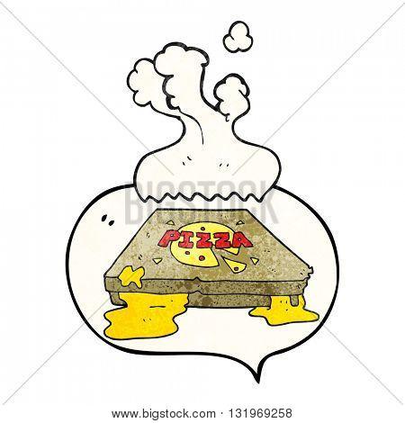 freehand speech bubble textured cartoon pizza