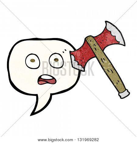 freehand speech bubble textured cartoon axe