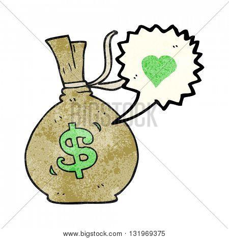 freehand speech bubble textured cartoon bag of money