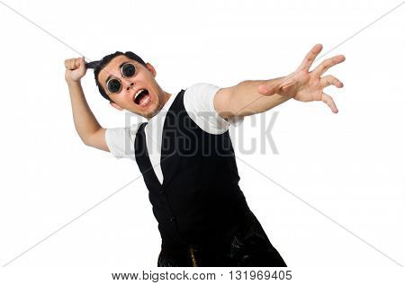 Funny young man dancing isolated on white
