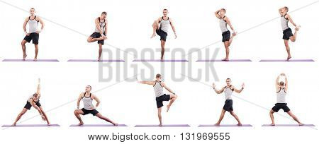 Man doing exercises on white
