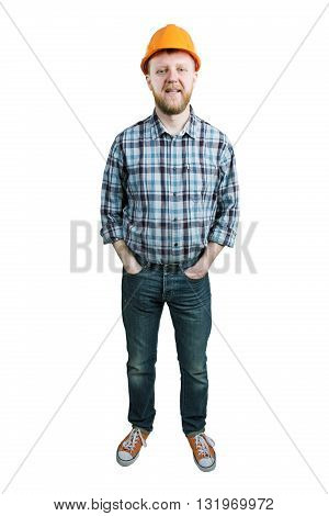 Man in a construction helmet and jeans
