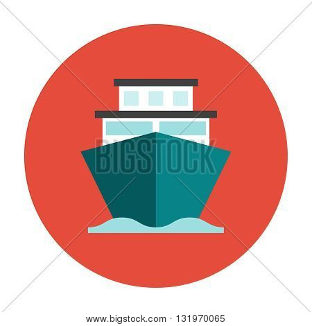 Ship on the sea water flat icon. Shipping cargo ship