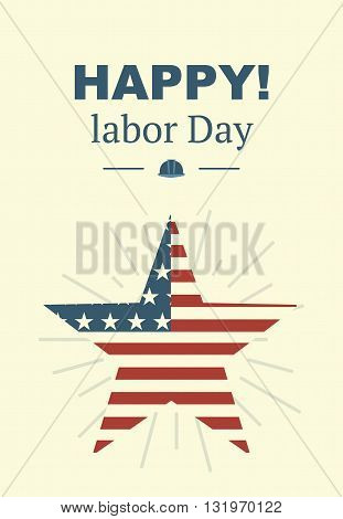 American Labor Day. Retro card with text and an American flag.