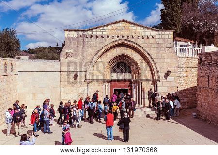 Jerusalem, Israel - February 20, 2013: Tourists Entering Tomb Of The Virgin Mary