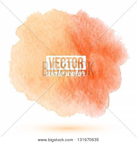 Peach color vector watercolor stain on white background