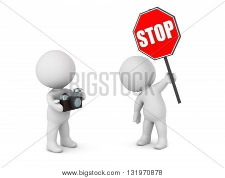 3D character with stop sign and character with a photo camera. Isolated on white background.