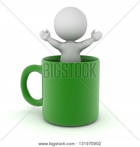 3D character standing with arms raised inside a large green cup. Isolated on white background.