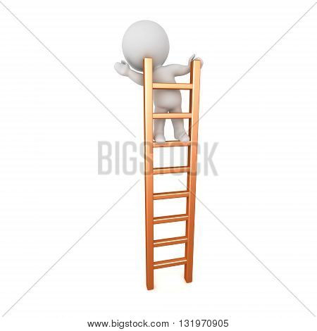 3D character standing and waving on a ladder. Isolated on white background.
