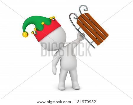 3D character with elf hat holding up a small sled. Isolated on white background.