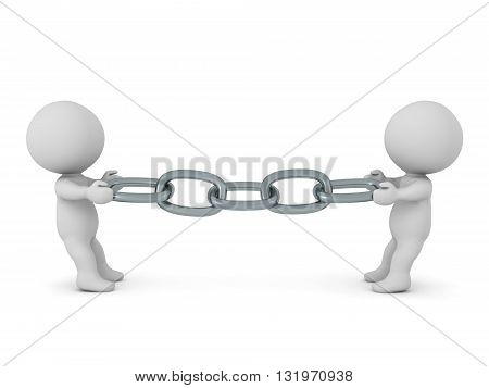 Two 3D characters pulling on a chain from opposite sides. Isolated on white background.