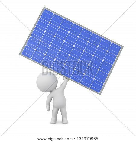 3D character holding up a large solar panel. Isolated on white background.