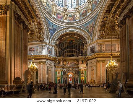 ST. PETERSBURG, RUSSIA -MAY 23, 2016: Interior of St. Isaac's Cathedral (1819--1858). It is the largest Russian Orthodox cathedral in St. Petersburg