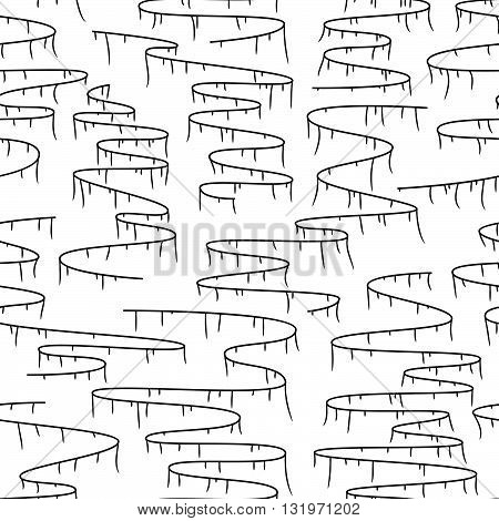 Doodle seamless background for textile, fabrics, paper print and other. Wavy paths pattern. Vector illustration. hand drawn seamless pattern