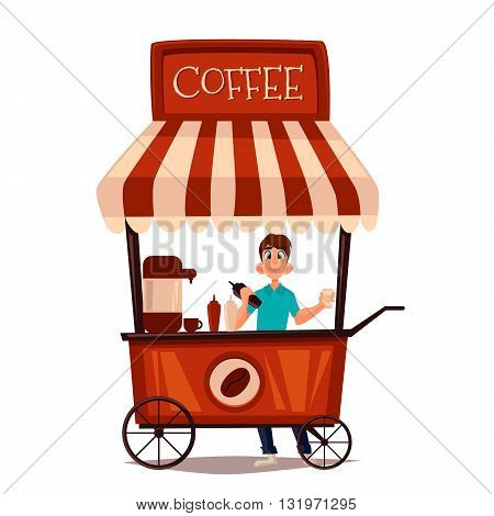 Sale of coffee outdoors, vector cartoon comic illustration isolated on white background, seller sells the coffee in the street, fast food drinks, coffee drink