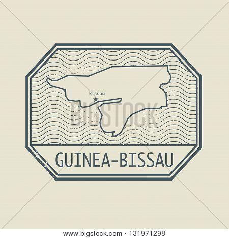 Stamp with the name and map of Guinea - Bissau, vector illustration