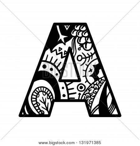 Coloring Book Page Alphabet Letter A Vector. Coloring Book Page Hand-drawn. For Shirt Design, Tattoo