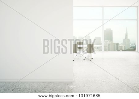 Conference room interior with blank concrete wall and city view. Mock up 3D Rendering